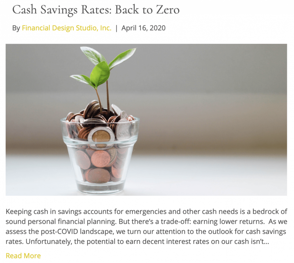 Fee only financial advisor deer park barrington chicago cash savings back to zero
