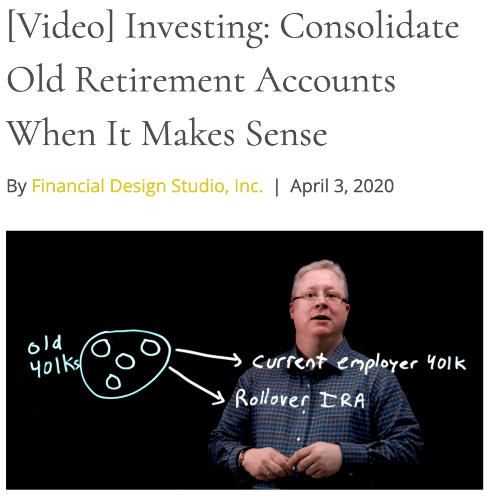 fee only financial advisor deer park barrington chicago investing consolidate retirement accounts draft
