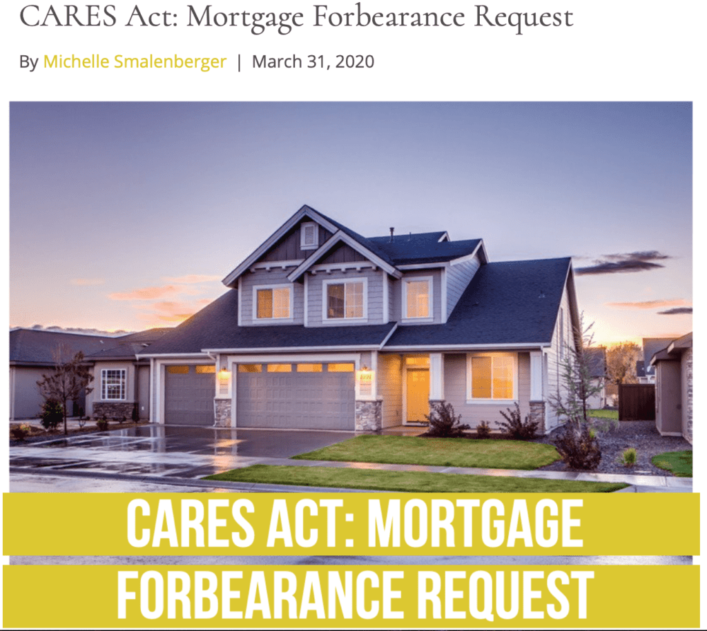 Fee only financial advisor cares act mortgage forbearance