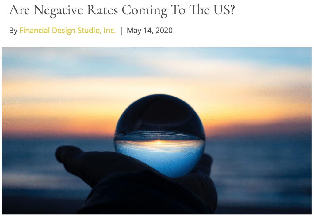 fee only financial advisor deer park barrington negative rate coming to the us economy