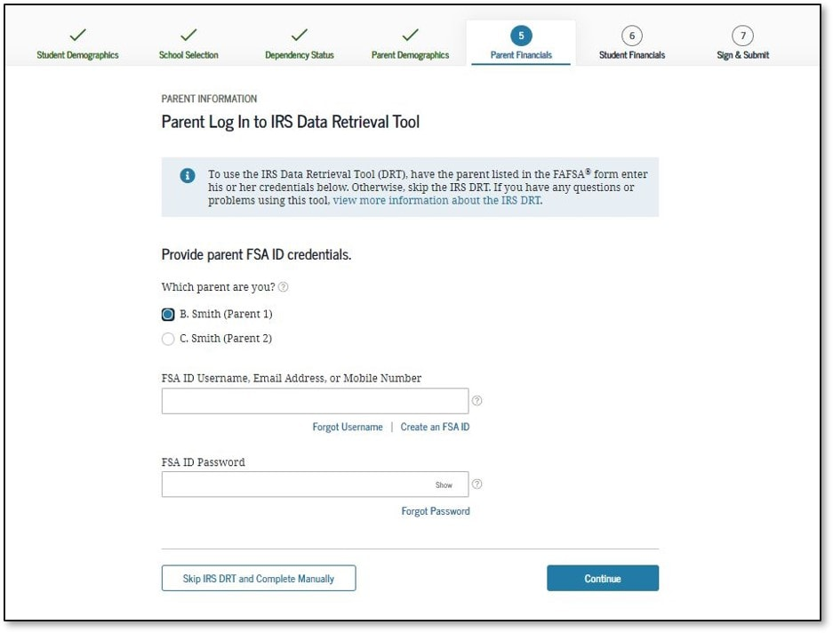 FAFSA Application 2022-2023 Parent IRS Data Retrieval Screen