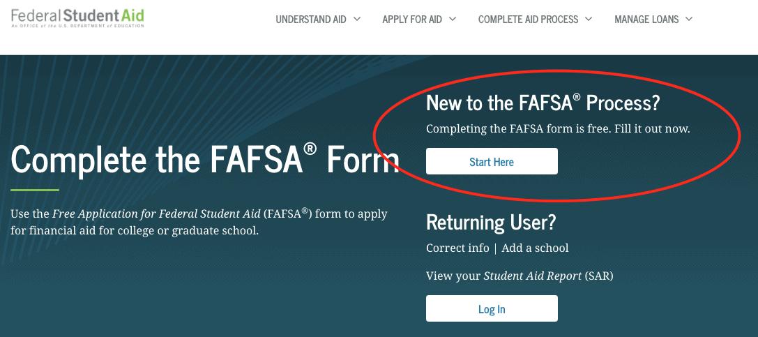 FAFSA Login Page
