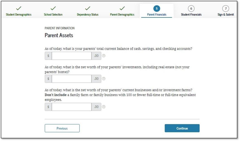 FAFSA Application 2022-2023 Parent Assets Data Entry Screen