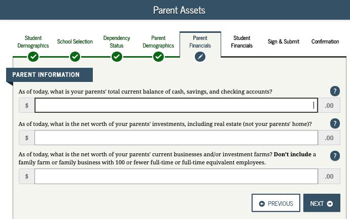 FAFSA Parent Assets
