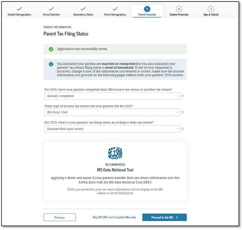 FAFSA 2022-2023 Application Parent Tax Filing Status Screen