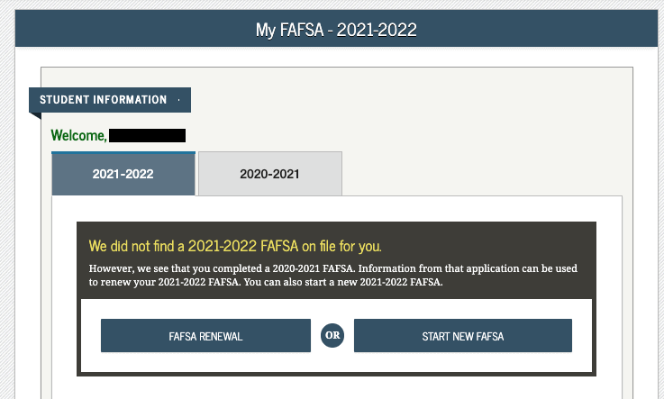 FAFSA Page for First-time and Returning Students