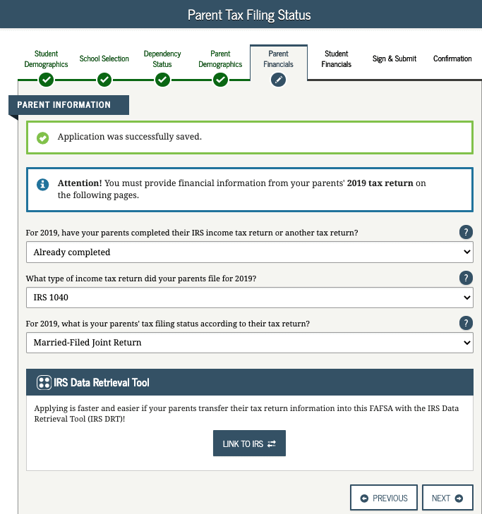 FAFSA Parent Financial Information Link to IRS